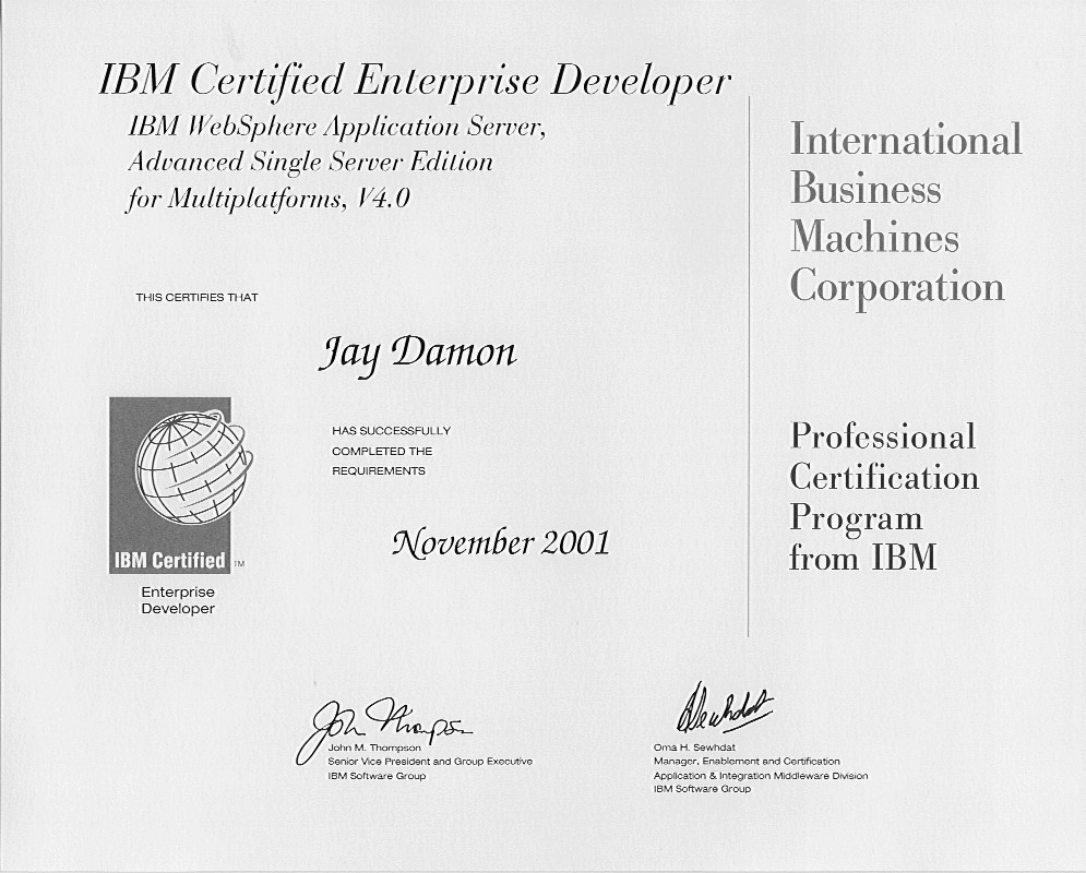 Certifications Summary For Jay Damon