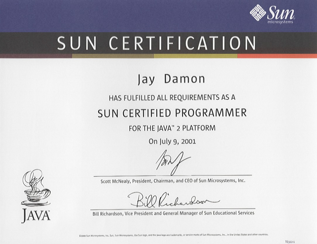 Certifications Summary For Jay Damon