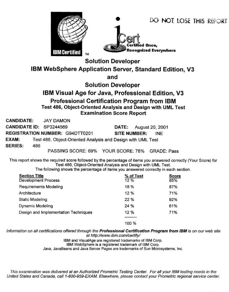 Certifications Detail For Jay Damon